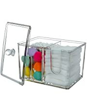 Indoor Ultima Square Qtip Holder Cotton Rounds Organizer with Lid,Transparent Cosmetic Accessories Container Dispenser for Dresser Bathroom Bedroom Vanity Countertop,4 Compartments