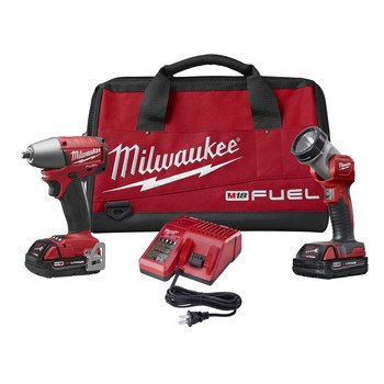 Milwaukee 2795-22CT M18 FUEL 18V Cordless 3/8 in. Lithium-Ion Impact Wrench with Friction Ring and Work Light Combo Kit