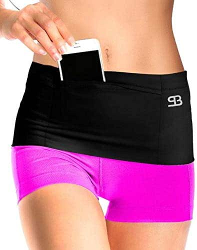 Stashbandz Unisex Travel Money Belt, Running Belt, Fanny and Waist Pack, 4 Large Security Pockets - 1 Pocket with Zipper, Fits Phones Passport and More, Extra Wide Spandex, USA Made