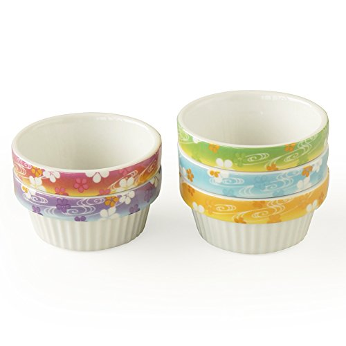 Cinf Porcelain Ramekins Floral 4 oz. Baking Pudding Bowls Dishes Souffl