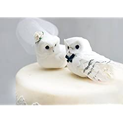 "Snowy Owl Cake Topper in Winter White: Rustic""Bride and Groom"" Love Bird Wed."