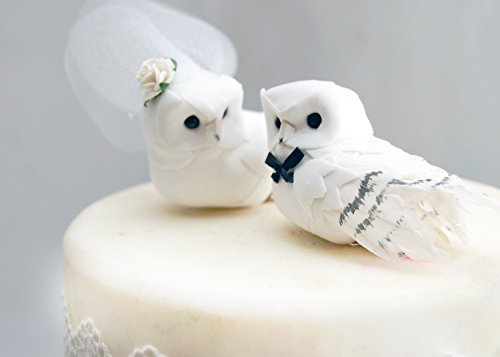 Snowy Owl Cake Topper in Winter White: Rustic