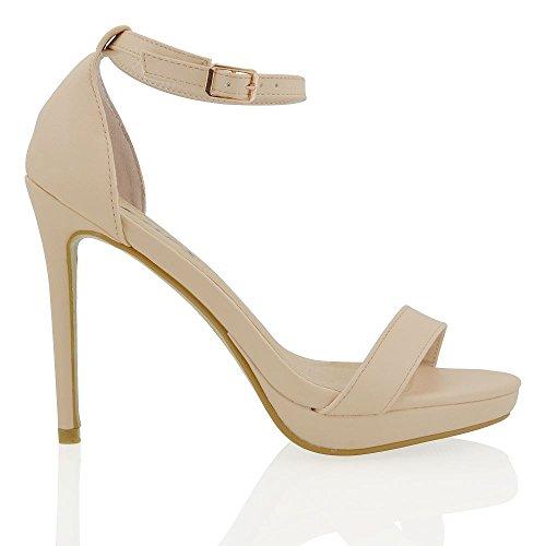 Essex Glam Sintético Zapatos de fiesta de punta bierta con tacón alto, plataforma y tira al tobillo Desnudo Cuero Sintético