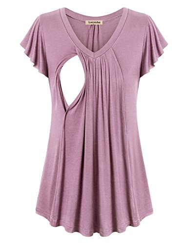 Larenba Maternity Tunic, Women Summer LayePink Oversize Nursing Top Shirt Breathable Cotton Stretchy Plain Relaxed Fit V Neck Casual Maternity Clothing(Pink,XX-Large) by Larenba