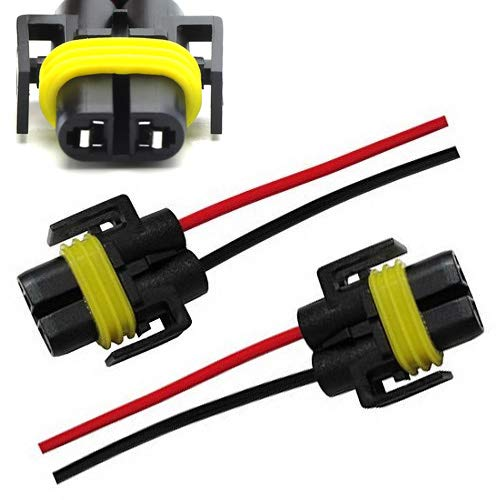 iJDMTOY (2) H11 H8 880 881 Female Adapter Wiring Harness Sockets Wire For Headlights or Fog - Plastic Housing Driving Lights