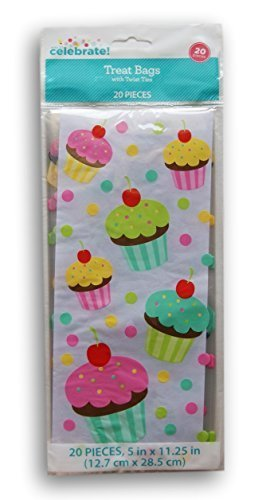 Colorful Cupcakes Cellophane Treat Bags with Twist Ties - 20 count (Cupcake Bag)