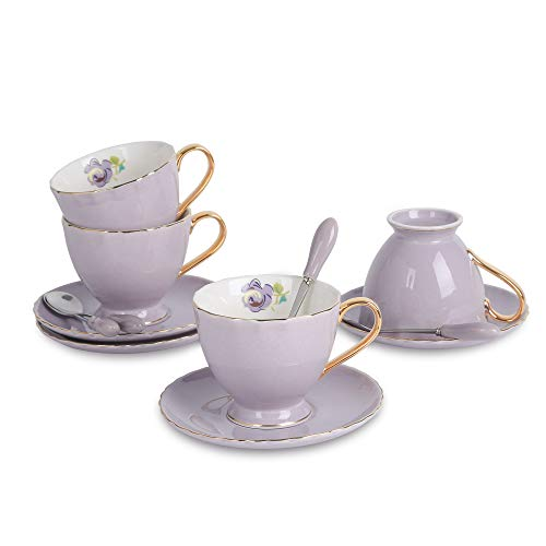 (ARTVIGOR 12-Piece Purple Silver Rimmed Coffee Tea with with Saucers and Spoons New Bone China 6.8oz Teacups, 14.6 X 14 X 4.1 Inches,)
