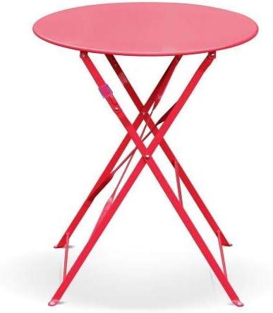 Table de Jardin bistrot Pliable - Emilia Ronde Rouge Framboise- Table Ronde  Ø60cm en Acier thermolaqué