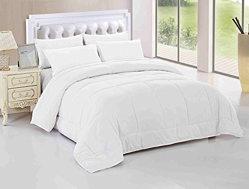 Maiija Deluxe Comfy Goose Down Alternative Box Stitch Comforter, Duvet Cover, 2 Pillow Case White (King 102X92) - Stitch Coverlet Set