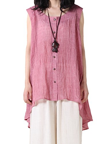 (Mordenmiss Women's Button Down Vest Sleeveless High Low Tunic Tops Casual Blouse L Pink )