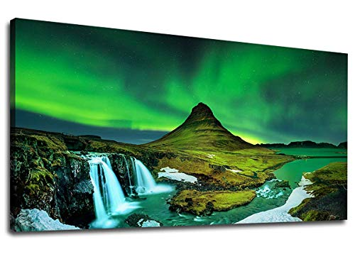 Northern Light Canvas Wall Art Aurora Borealis Picture Kirkjufell in Iceland Canvas Artwork Painting Prints for Home Living Room Decorations Office Wall Decor Framed Ready to Hang 20