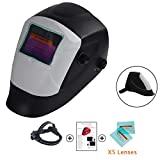 Welding Helmet Mask Solar Powered Auto Darkening Hood with Adjustable Shade Range 9-13/Rest Din 4 Ideal for Mig Tig Arc Welder Protection 5Pcs Free Lens (Black and Grey)