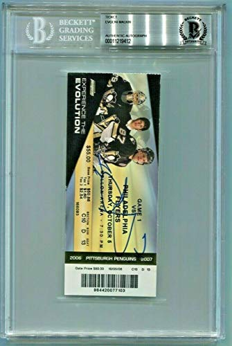 Pittsburgh Penguins Evgeni Malkin Autographed Signed Rookie Year Ticket Beckett - Certified Signature