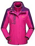Lottaway Detachable Fleece Waterproof Outdoor Snow Ski-wear Poineer Parka Coat Rosy XL For Women