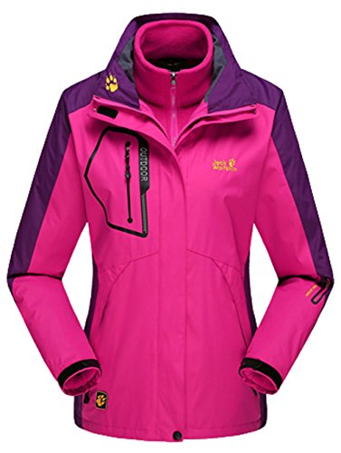 Lottaway Detachable Fleece Waterproof Outdoor Snow Ski-wear Poineer Parka Coat Rosy XL For Women by Lottaway®