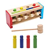 Wooden Toys Pounding Bench Wood Mallet Game for Baby Toddlers & 1 Year Old, Sensory Toy Hammer & Peg Toy for Boys, Girls & Children, Wooden Hammer Bench Learning Games Birthday Gifts for 2 Year Olds.