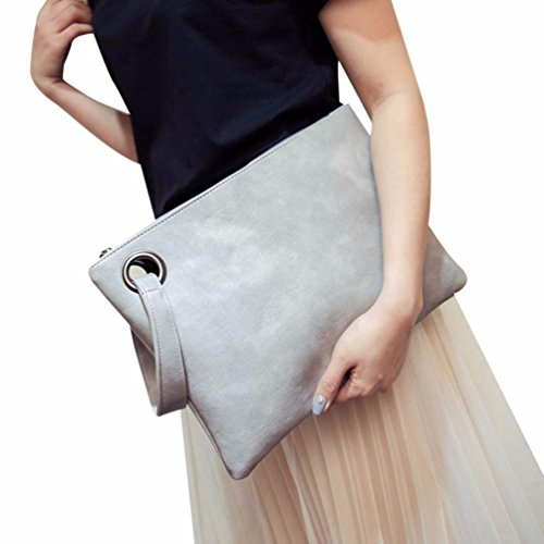 Hunputa Women Leather Handbag Clutch Evening Bag Simple Retro Envelope Package (Gray)