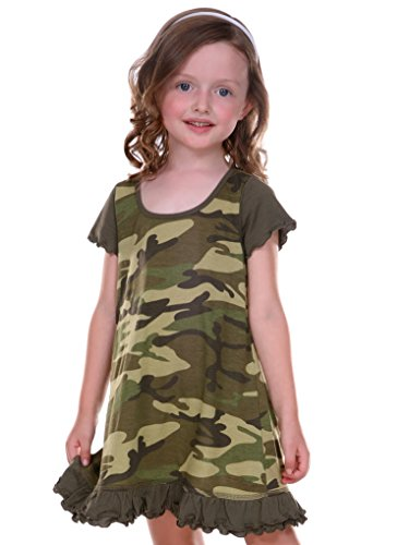 (Kavio! Little Girls 3-6X Camouflage A-Line Short Sleeve Dress Camo Army Green)