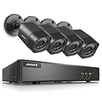 ANNKE 5-in-1 4CH 720P DVR with (4) 720P HD Weatherproof Indoor/Outdoor Cameras with IR-cut Night Vision LEDs, Free APP, Remote Access, No HDD Included