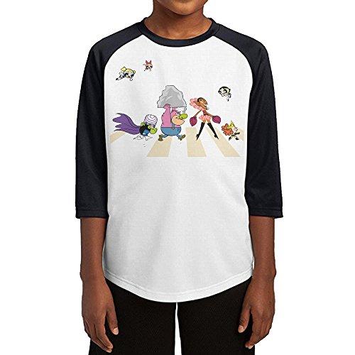 GUYT Youth Boys The Powerpuff Girls Raglan Baseball T Shirt Black Size L (Plus Bubbles Powerpuff Costume)