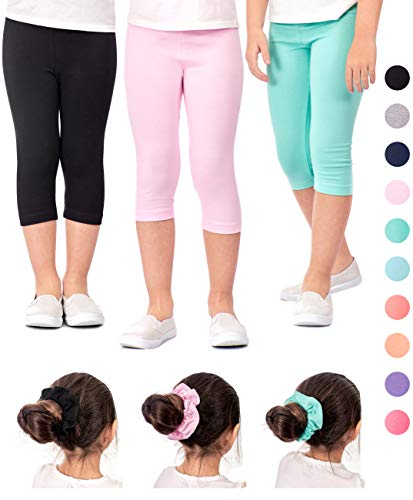 DEAR SPARKLE Girls Capris 3 Pack Cotton Solid Colors + Matching Hair Ties | Sizes 3-10 (6-7, Black/Pink/Mint)