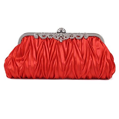 Cinched Vintage Evening Satin Clutch Damara Purse Handbag Envelope Red Women's A4qXxXwSI