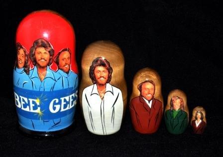 ''Bee Gees'', 5 pc Matryoshka, Nesting Doll by Nesting dolls,Matrioshka doll