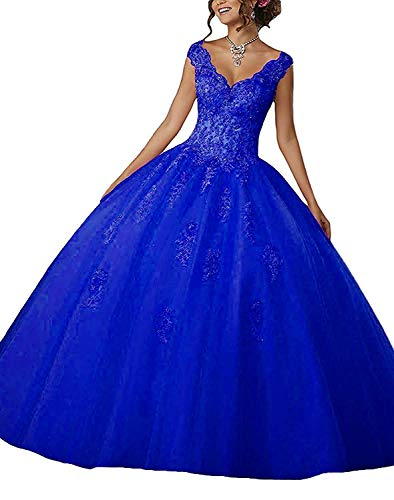 CharmingBridal Cap Sleeve Lace Graduation Ball Gown Quinceanera