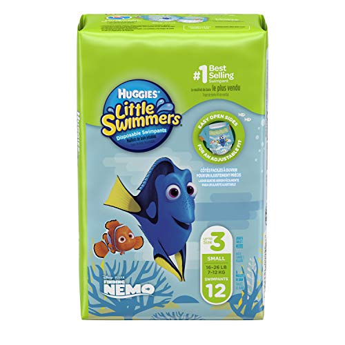 Huggies Little Swimmers Disposable Swim Diapers, Swimpants, Size 3 Small (16-26 lb.), 12 Ct. (Packaging May Vary)