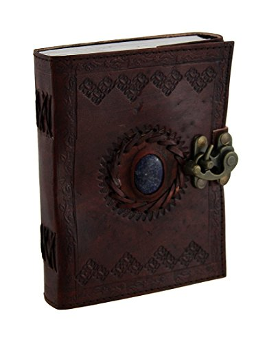 - Leather Bound Journal Vintage Stone Journal with Lock Unlined Notebook Sketchbook Unisex