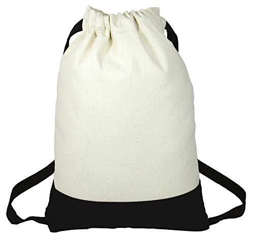 - Two Tone Fancy Heavy Canvas Drawstring Backpacks for Sports, Travel, School Set of 6 (Black)