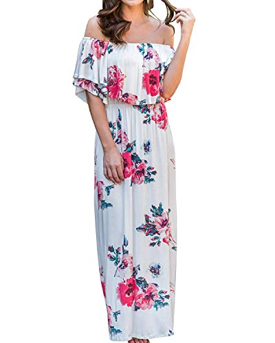 Womens Floral Off The Shoulder Dress Summer Casual Ruffle High Waist Slit Maxi Long Dresses (X-Large, White) ()