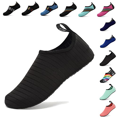 CIOR Water Sport Shoes Quick-Dry Aqua Skin Shoes for Women Men Multifunctional Anti-Slip Socks Yoga Exercise,U1SXB1,Black,40.41