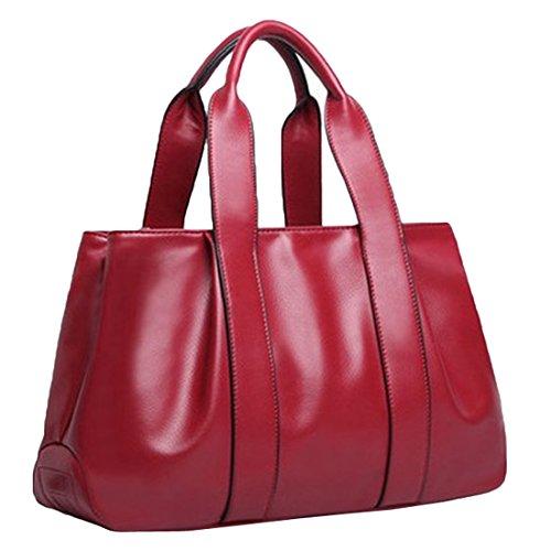 YYW Leather Handbags - Bolso mochila  para mujer granate