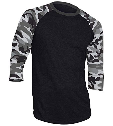 - DREAM USA Men's Casual 3/4 Sleeve Baseball Tshirt Raglan Jersey Shirt Black/Lt Gray Camo XL