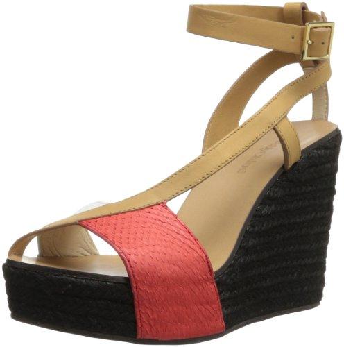 See By Chloe Women's 22006 Wedge Sandal,Black/Red/White Snake,38 EU/8 M US