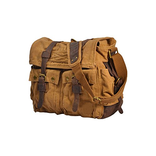VRIKOO Casual Military Shoulder Vintage Sports X Messenger Satchel Canvas Green Caqui Bags Crossbody Bag large Army School 15XY1rwq