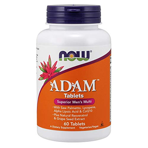 NOW Supplements, ADAMTM Men's Multivitamin with Saw Palmetto, Lycopene, Alpha Lipoic Acid and CoQ10, Plus Natural Resveratrol & Grape Seed Extract, 60 Tablets