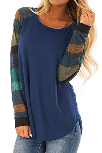 Allimy Women Long Sleeve Tunic Tops for Leggings Juniors Casual Striped Blouses Shirts Blue X-Large