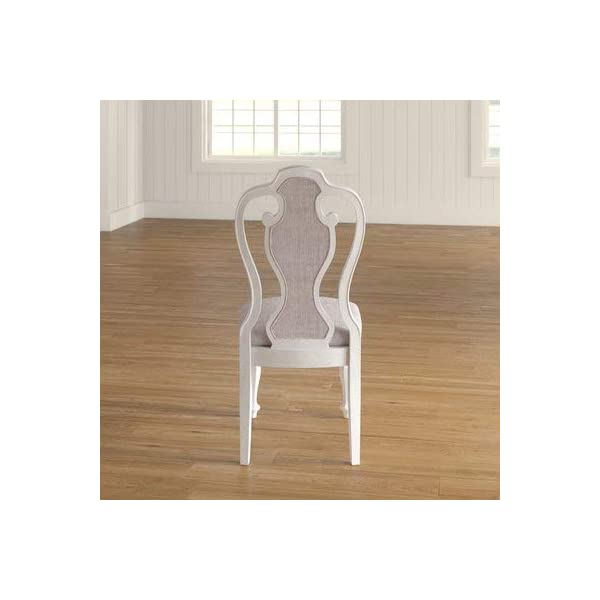 Wood Dining Chair with Chenille Upholstery and Carved Column Legs - Dining Chair with Queen Anne Back - Set of 2 - Antique White