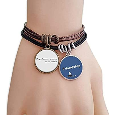YMNW Quote The Good Seaman Known Bad Weather Friendship Bracelet Leather Rope Wristband Couple Set Estimated Price -