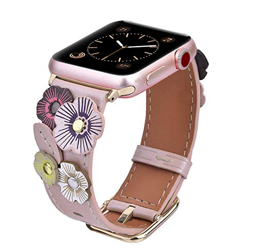 V-MORO Flowers Leather Bands Compatible with Apple Watch Bands 38mm 40mm Series 4/3/2/1 with Stainless Steel Buckle Rose Gold Replacement Strap Wristbands Women(Rose Gold, 38mm)