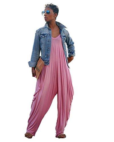 Jumper Pink V-neck - Young_Me Women's Punk Spaghetti Strap Jumpsuit V Neckline Comfy Loose Harem (Pink, XXL)