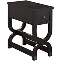 Monarch Accent Table with Unique Double Horseshoe Base and a Drawer, Cappuccino