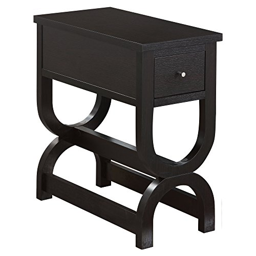 Monarch Specialties I I 3147 Accent Table with Unique Double Horseshoe Base and a Drawer, Cappuccino