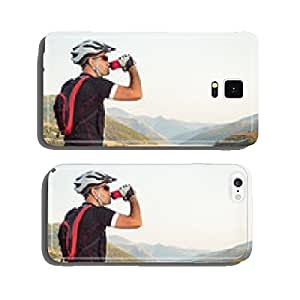 Mountain biker beside a beautiful lake cell phone cover case Samsung S6