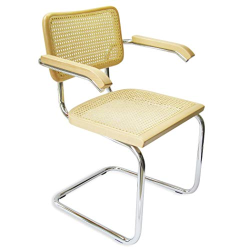 Marcel Breuer Cesca Cane Chrome Arm Chair in Natural