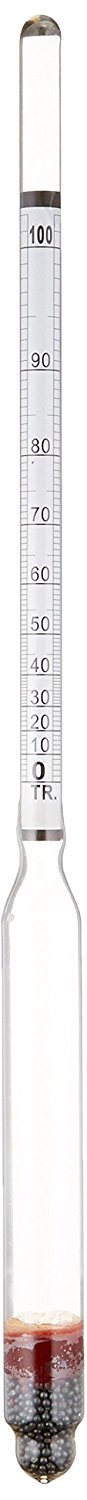 HYDROMETER - ALCOHOL, 0-200 PROOF and Tralle by Bellwether Home Brew Stuff 6612-1