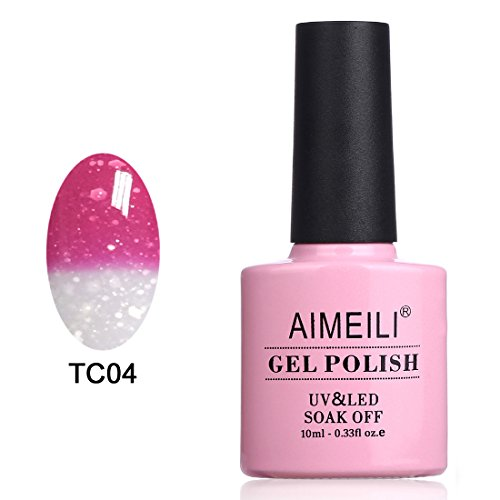 AIMEILI Soak Off UV LED Temperature Color Changing Chameleon Gel Nail Polish - Hot Pink to Glitter White (TC04) 10ml -