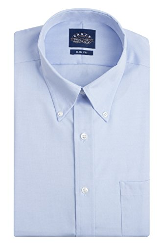 Eagle Men's Non Iron Slim Fit Solid Button Down Collar Dress Shirt, Blue Mist, 17